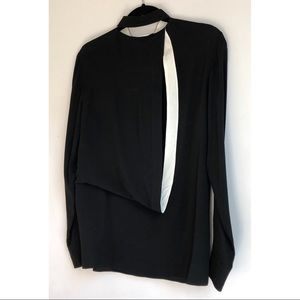 ALEXANDER WANG BLACK SILK OPEN BACK DRAPED BLOUSE